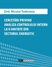 coperta carte cercetari privind analiza controlului intern la o unitate din sectorul energetic de drd. niculai todireasa